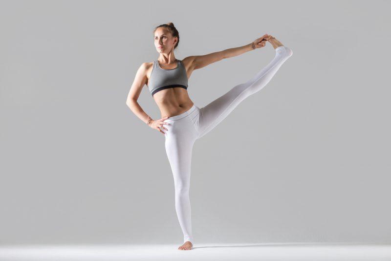 Uttitha Hasta Padangustasana Variation — Single Leg Balance with Hand to Knee Pose