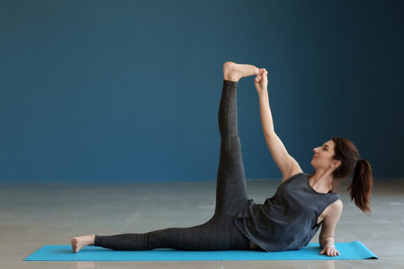 Anantasana — Side Reclining Leg Lift Pose