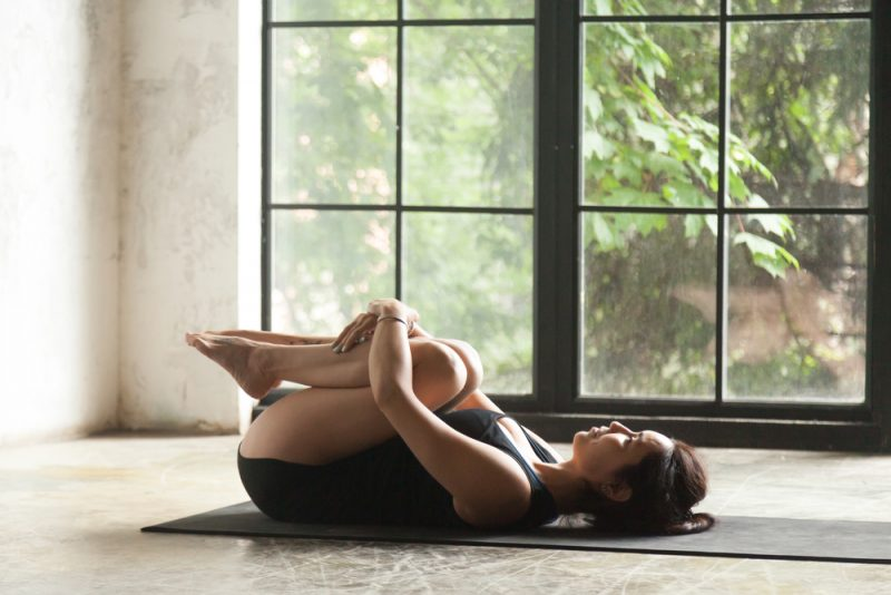 Sequence Five – Figure Four Pose, Wind Releasing Pose, Happy Baby Pose, Bridge Pose, Supine Spinal Twist, and Shavasana