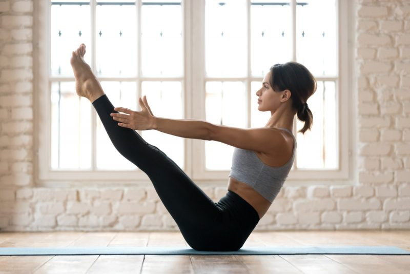 Sequence Four – Easy Pose, Head to Knee Pose, Bound Angle Pose, Boat Pose, Bridge Pose, and Reclining Bound Angle Pose
