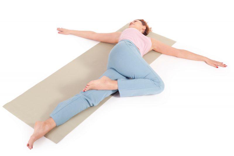 Supta Matsyendrasana — Reclined Spinal Twist Pose