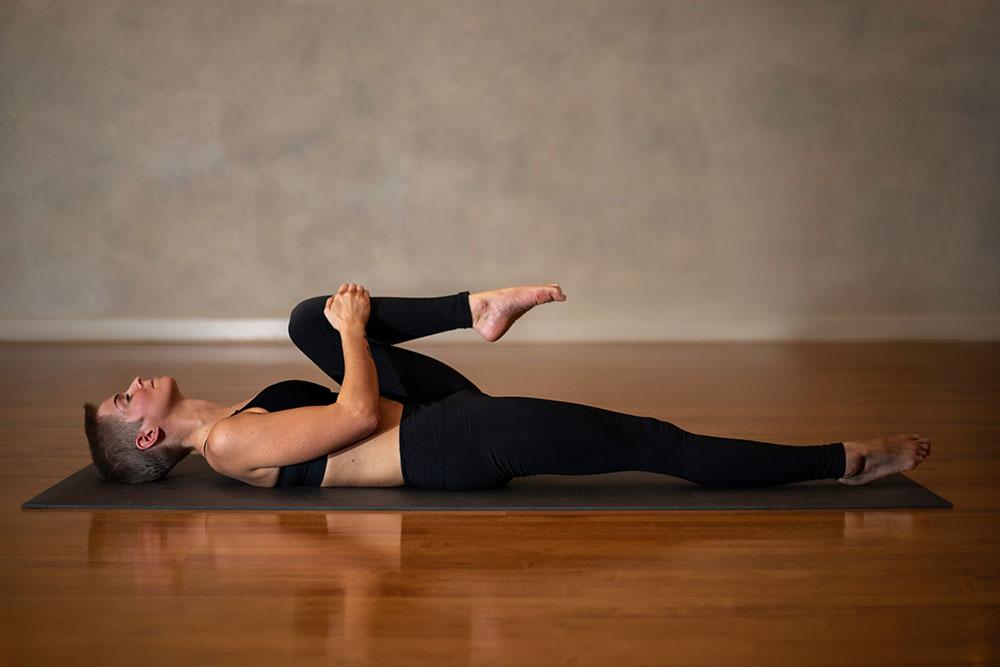 Half Knees to Chest Pose - Figure 4 Variation/Ardha Apanasana