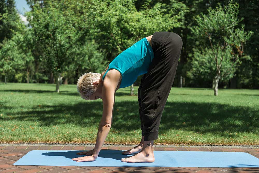 Inhale Ardha Uttanasana — Half Standing Forward Fold, or Halfway Lift Pose