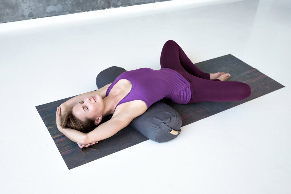 Reclining Heart Opener - Supported Bridge Pose variation
